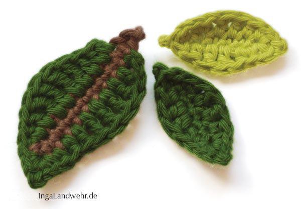 Gehäkelte Blätter in zwei Größen – Häkelanleitung