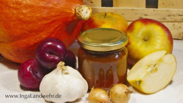 Kürbis, Pflaumen, Knoblauch, Zwiebeln, Apfel und ein Glas fertiges Chutney vor Kistenbrettern