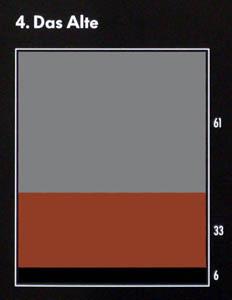 """Farbkarte für die Assoziation mit dem Begriff """"das Alte"""": grau, braun, schwarz"""