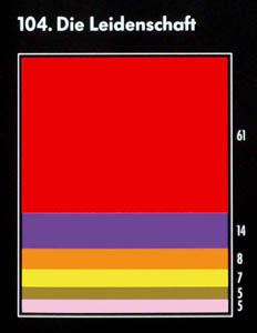 """Farbkarte für die Assoziation mit dem Begriff """"die Leidenschaft"""": rot, lila, orange, gelb, gold, rosa"""
