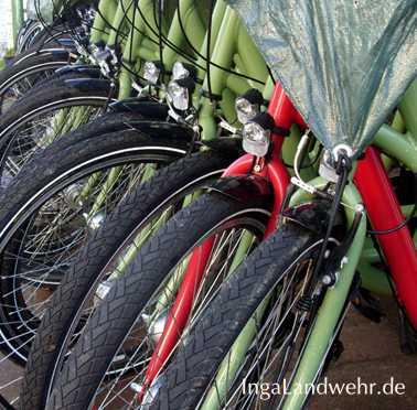 Vorderräder von Fahrrädern mit grüner Gabel