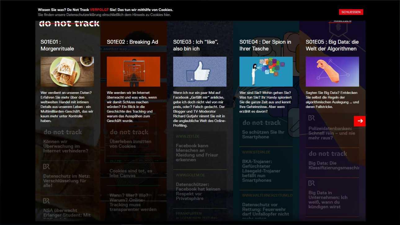 """Übersicht aller Folgen von """"do not track"""", der personalisierten Webserie über Datensdammler, Screenshot"""