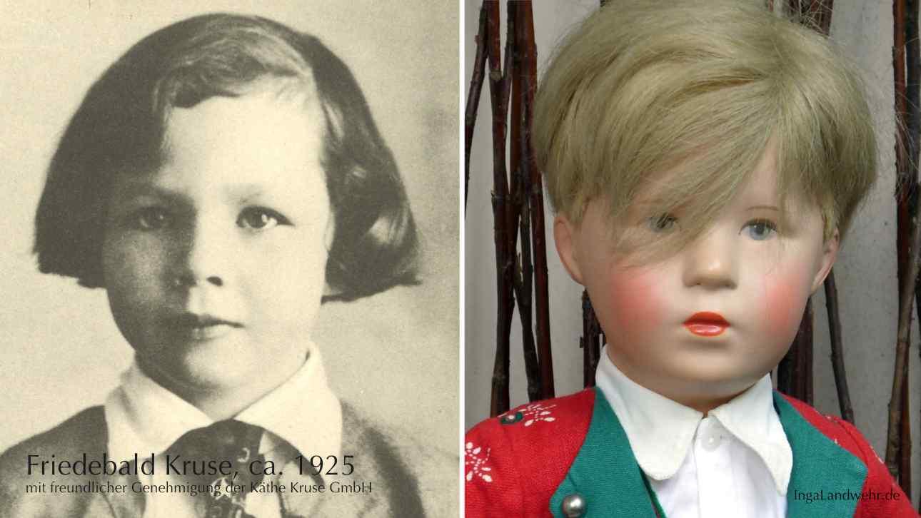 rechte Bildhälfte: Friedebald Kruse im Alter von ca. 7 Jahren, linke Bildhälfte: Friedebald Kurse als Puppe