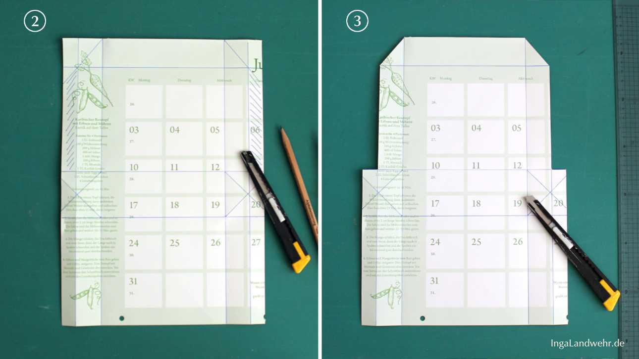 Die ersten Schritten der Bastelanleitung: Ein Kalenderblatt mit aufgezeichneten Falzlinien liegt auf einer grüßen Schneidematte