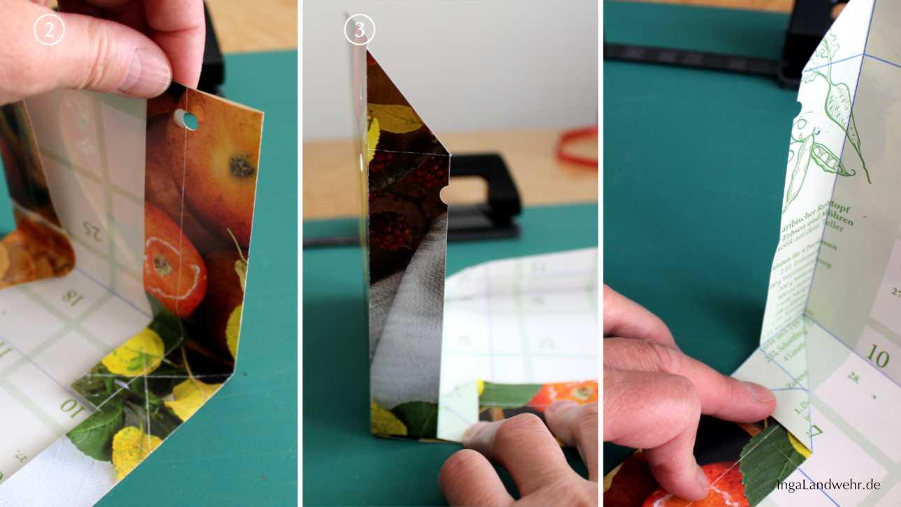 Eine Seite der Tüte aufstellen und die Lasche falten. Das wird in 3 Bildern gezeigt.