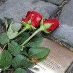 Stolpersteine vor der Stephaniekirche. Darauf lieben zwei rote Rosen.