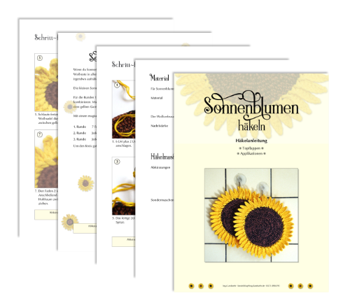 """Titelbild und ein paar Seiten aus dem eBook """"Sonnenblumen häkeln"""""""